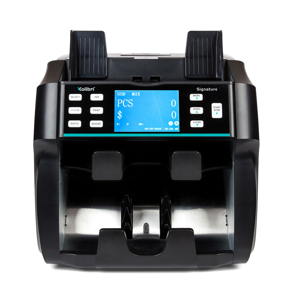 Kolibri Signature™ 2-Pocket Business-Grade Mixed Bill Counter, Sorter and Reader with Counterfeit Detection