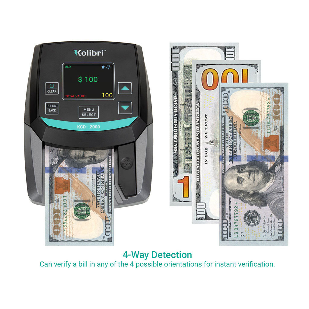 Kolibri KCD-2000 All-Orientation 2-in-1 Counterfeit Money Detector and Bill Counter with UV, MG and IR Detection