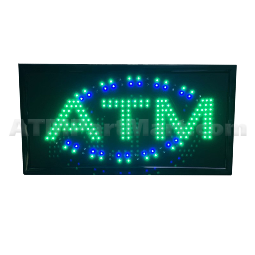 Green LED ATM Sign w/ Blue Accents